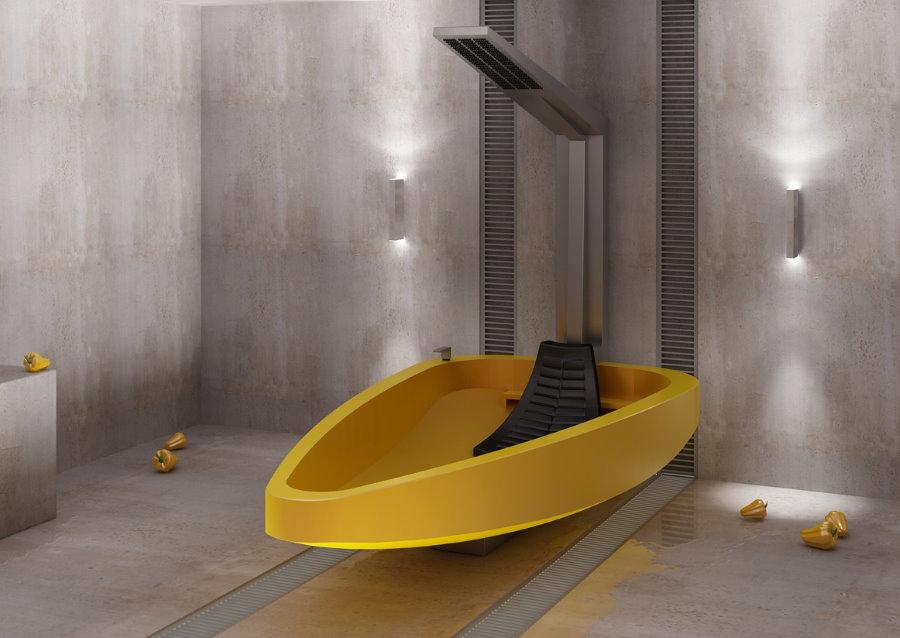 Подвесная ванна желтого цвета