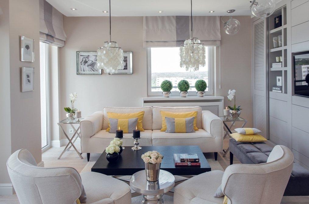 Оформление маленькой гостиной в пастельных тонах