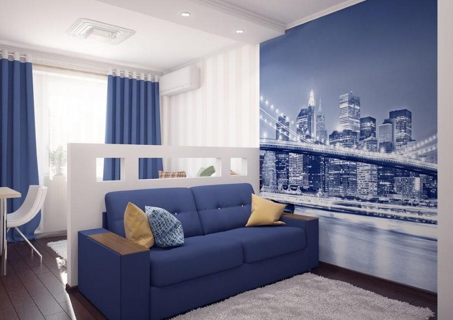 Фотообои в небольшой комнате студенческого общежития