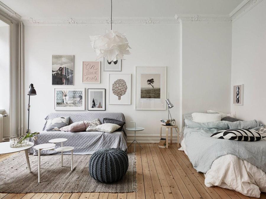 Зонирование ковром квартиры-студии в скандинавском стиле