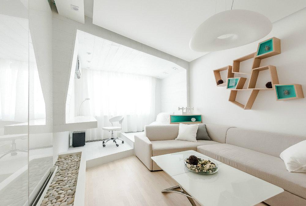 Зонирование подиумом спальни-гостиной в стиле минимализма