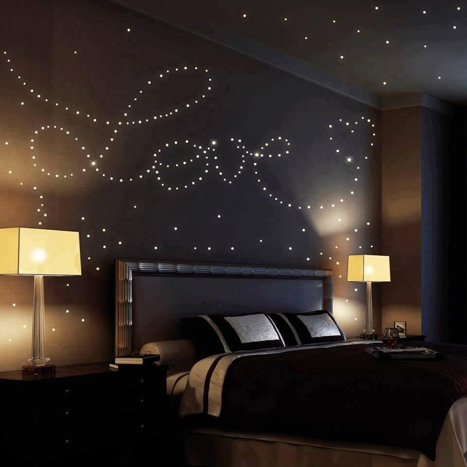 Потолок в спальню с эффектом ночного неба фото