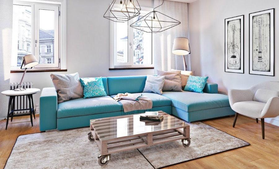 Бирюзовый диван в гостиной скандинавского стиля