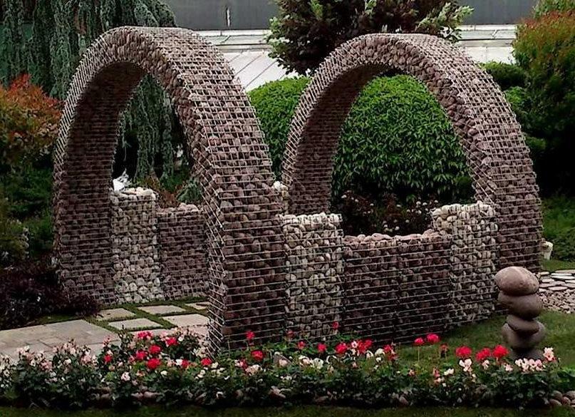 Садовые арки из габионов в ландшафтном дизайне
