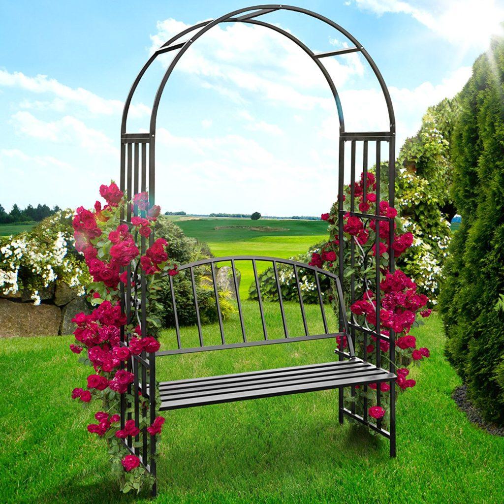 Садовая скамейка с аркой из металла