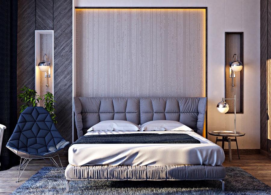 Декоративные ниши в стене спальной комнаты