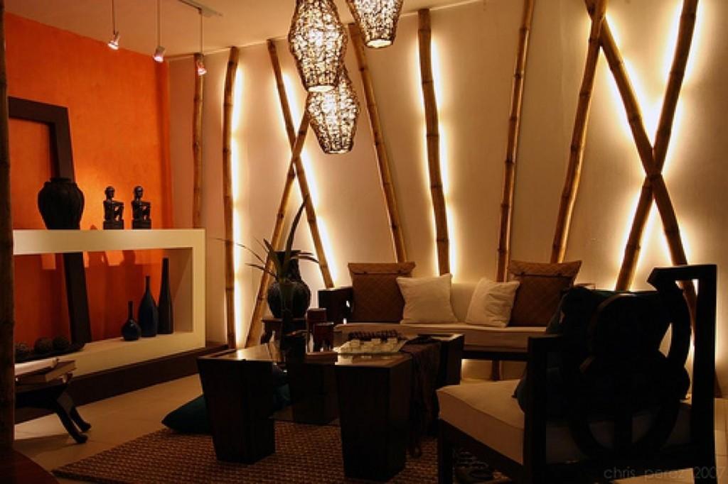 Декоративные светильники из толстого бамбука