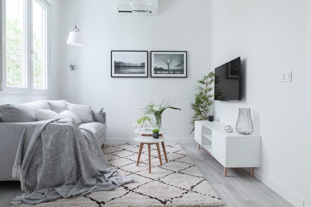 Интерьер небольшой гостиной с белыми стенами