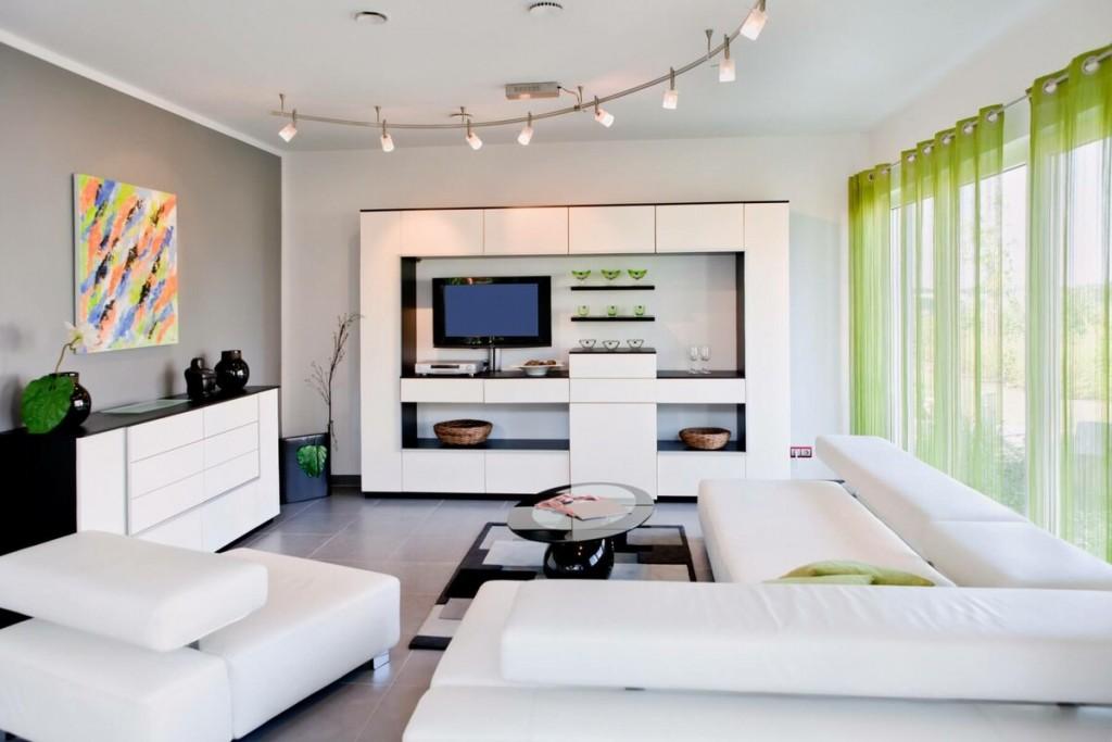 Планировка просторной гостиной в стиле хай-тек