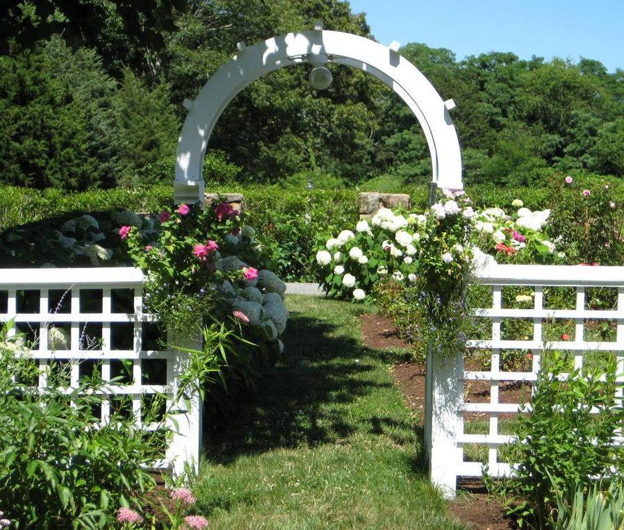 Декор садовой арки красивыми цветами