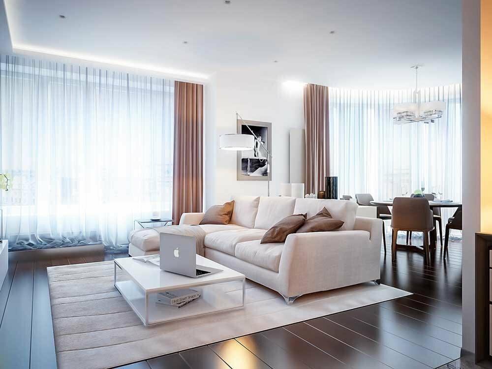 Кофейные шторы в гостиной с белым потолком