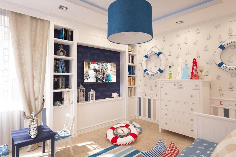 Синий светильник на потолке детской в морском стиле