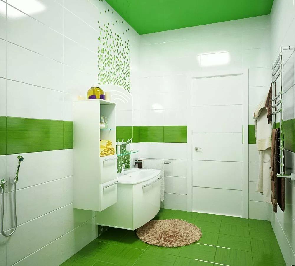 Зеленый пол в ванной с белыми стенами