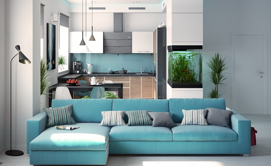 Бирюзовый диван под цвет фартука на кухне