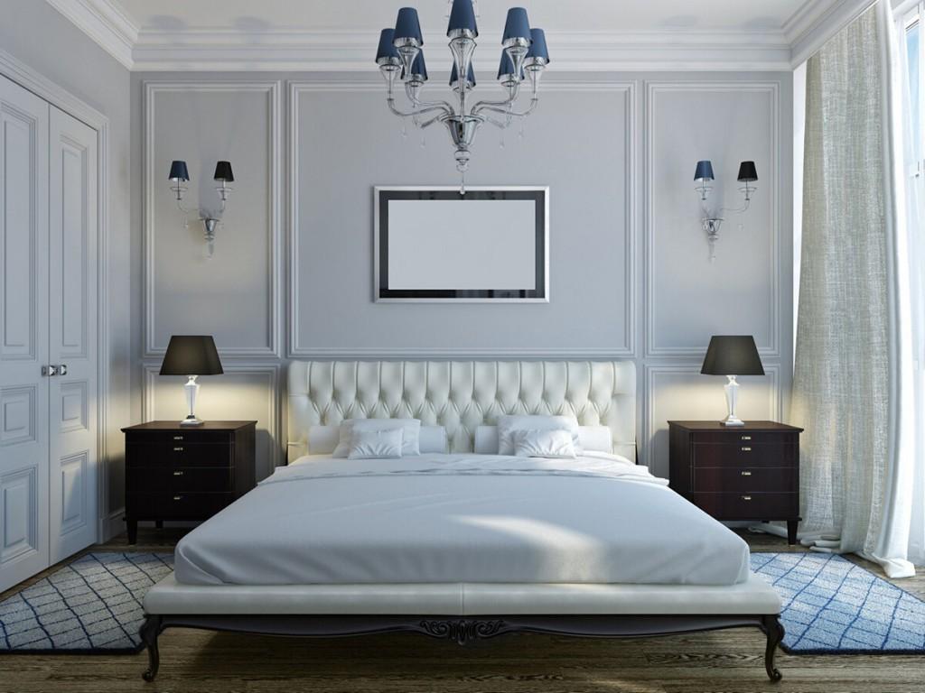 Черно белая мебель в спальне классического стиля