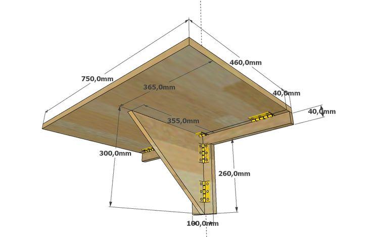 Чертеж откидного столика с размерами для лоджии