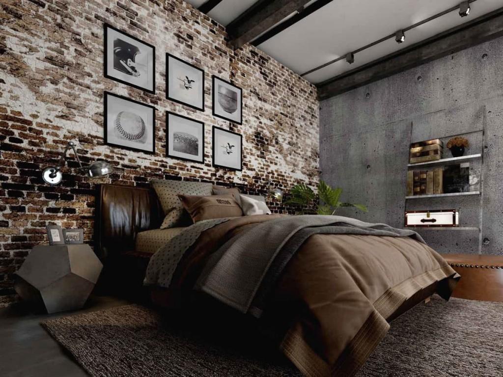 Декор кирпичной стены в спальне лофтной стилистики