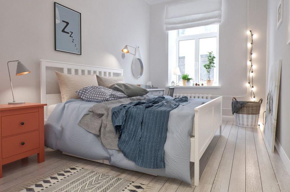 Декор гирляндой спальни в стиле сканди
