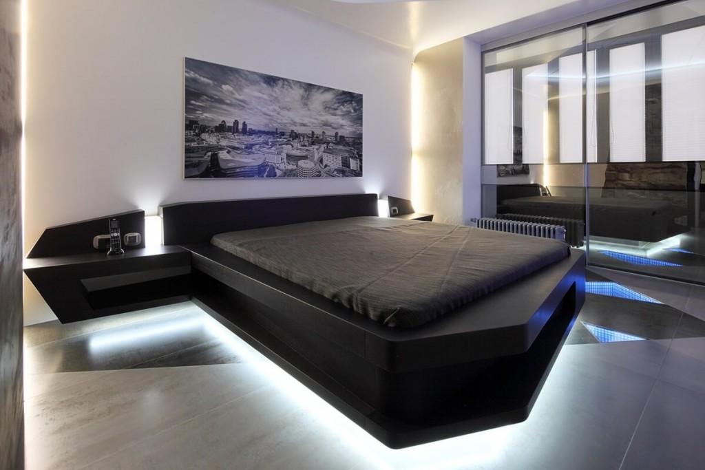 Декоративная подсветка в спальне высокотехнологичного стиля