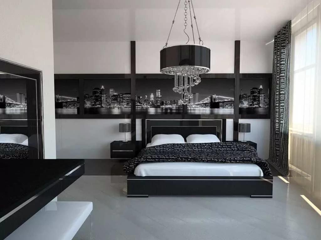 Оригинальный декор спальной комнаты в стиле хай-тек