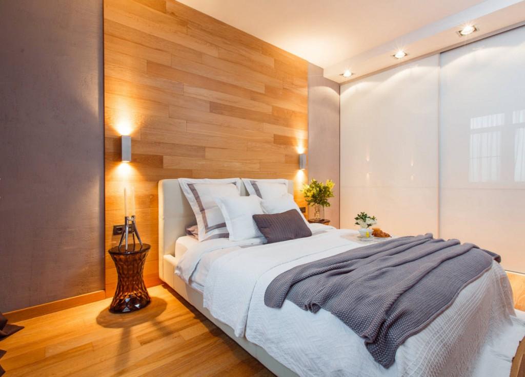 Декор ламинатом стены в спальне современного стиля