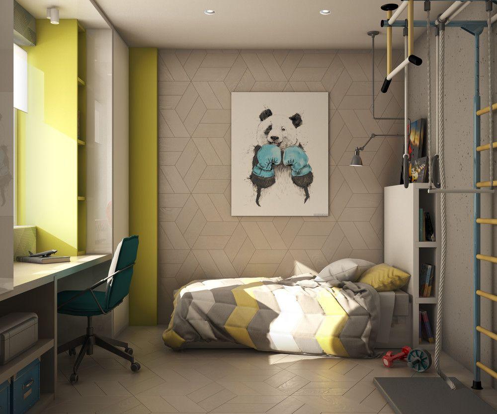 Шведская стенка в комнате мальчика школьного возраста