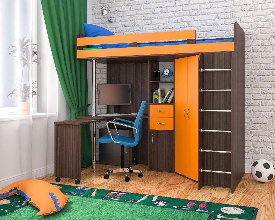 Дизайн детской двухъярусной кровати со столом