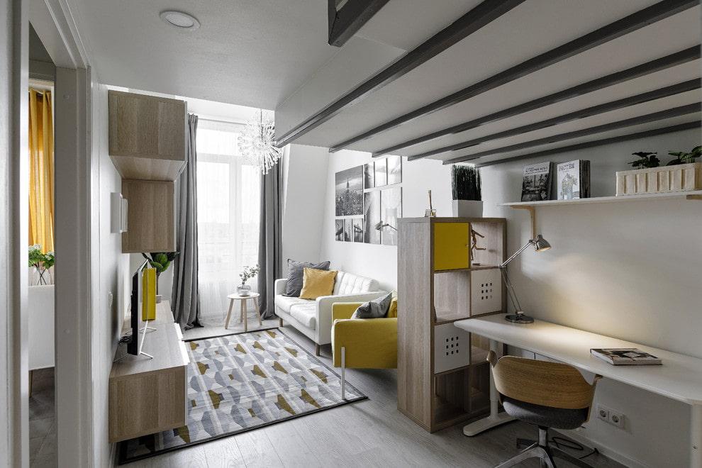 Разделение гостиной на общую и рабочую зоны