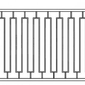 Чертеж заборной секции из квадратной трубы