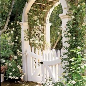 Белая калитка в арке из дерева