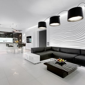 Черно-белый интерьер гостиной комнаты