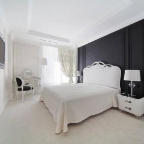 Акцентная стена спальни черного цвета
