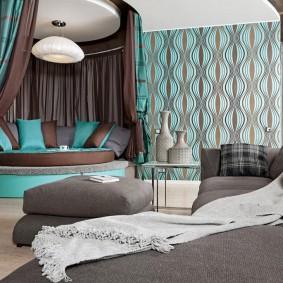 Балдахин из плотной ткани над угловым диваном