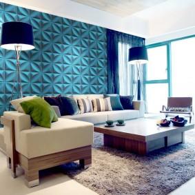 Объемные панели на стене гостиной комнаты