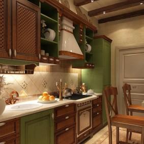 Коричневый гарнитур на кухне в панельке