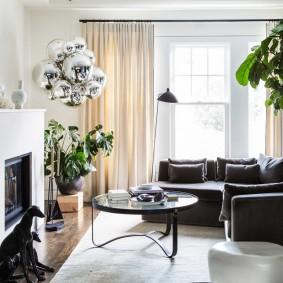 Декор гостиной живыми растениями