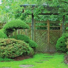 Обыкновенный газон перед воротами на даче