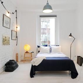 Декор гирляндой спальни в норвежском стиле