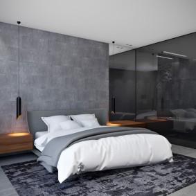 Серая стена в спальне стиля минимализм