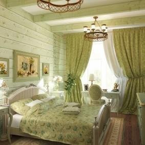 Деревянная отделка спальни в деревенском стиле
