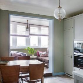 Дизайн кухни с утепленным балконом