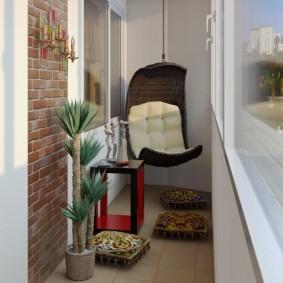 Подвесное кресло в интерьере лоджии