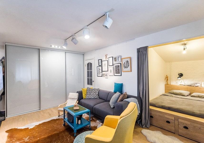 Фотографии дизайна однокомнатных квартир с нишей