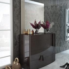 Обувница в стиле модерн с глянцевыми поверхностями