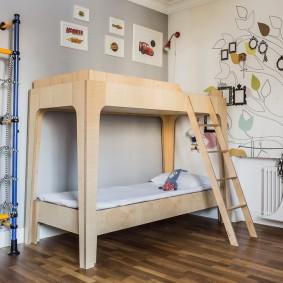 Простая модель детской двухъярусной кровати