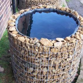 Емкость для дождевой воды с каркасом из габиона