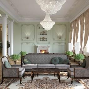 Серая мебель в зале классического стиля