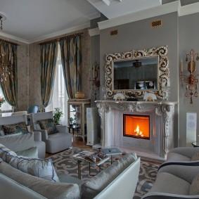 Уютная гостиная в оттенках серого цвета