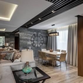 Дизайн кухни-гостиной в серых тонах