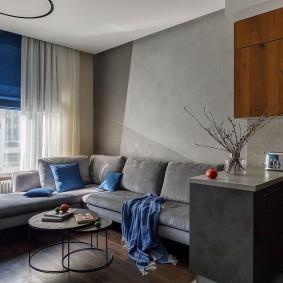 Синие акценты в гостиной комнате